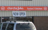 Store front for Cha Cha John's Fusion Kitchen